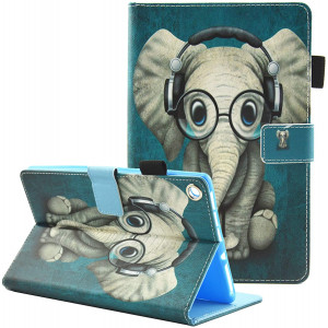 Fvimi All-New HD 8 Case, Slim Fit Folio Stand Leather Smart Cover with Auto Wake/Sleep for HD 8 (8th/7th/6th Generation, 2018/2017/ 2016), Can Not Fit HD 8 (10th Gen, 2020), Glasses Elephant