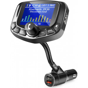 """ZEEPORTE Bluetooth FM Transmitter for Car, 1.8"""" Color Screen Wireless Bluetooth FM Radio Adapter QC3.0 Qucik Charger with EQ Mode, 3 USB Ports, 4 Music Playing, Hands-Free Calls, TF Card, AUX Output -"""