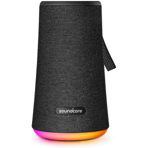 Soundcore Flare+ Portable 360 Bluetooth Speaker by Anker, Huge 360 Sound, IPX7 Waterproof, Bigger Bass, Ambient LED Light, 20-Hour Playtime, 4 Drivers with 2 Passive Radiators(Renewed)