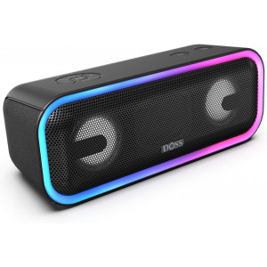 Bluetooth Speakers, DOSS SoundBox Pro+ Wireless Bluetooth Speaker with 24W Impressive Sound, Booming Bass,15Hrs Playtime, Wireless Stereo Pairing, Mixed Colors Lights, IPX5, 66 FT Wireless Range-Black