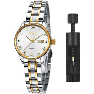 Luminous Ladies Watches,Women Watches,Women's Watch with Day and Date,Female Watch for Small Wrist,Stainless Steel Watches for Women,Black Roman Numerals Watch Women,Ladies Wrist Watches