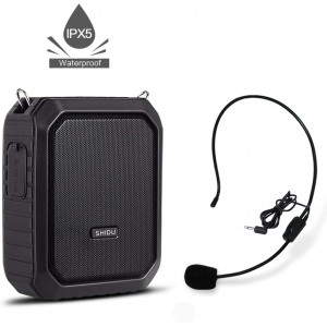 Voice Amplifier with Wired Microphone Headset 18W Waterproof IPX5 Voice Loudspeaker 4400mAh Rechargeable Portable PA system Power Bank for Outdoors, Water Aerobics Teaching, Meeting, Training, etc