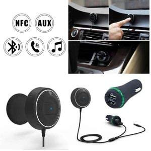 Bluetooth 4.0 Handsfree Car Kit Bluetooth NFC Quick Pairing AUX, with 2 USB Ports 2.1Aand1A Fast Charging for Mobile Phones and Tablets