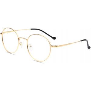 Firmoo Blue Light Blocking Glasses, Anti Eye Strain Anti Headache UV400 Cut, Metal Round Computer Glasses Gold Blue Light Blockers for Digital Screens