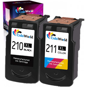 ColoWorld Remanufactured 210XL Ink Cartridge Combo Pack Replacement for Canon PG-210 XL 210XL CL-211 XL 211XL (1 Black + 1 Tri-Color) Used in Canon PIXMA MP240 MP480 IP2702 MP495 MX410 MX340 Printer
