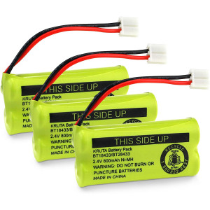 KRUTA 2.4V Rechargeable Battery Compatible with Cordless Phones BT18433 BT184342 BT28433 BT284342 BT-8300 BATT-6010 BT1011 BT1018 BT1022 BT1031 89-1326-00-00/89-1330-01-00/CPH-515D(3 Pack)
