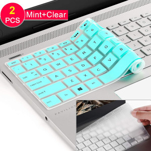 [2 Pcs] Silicone Keyboard Cover Skin for 2019 2018 HP 14 inch Laptop Keyboard Cover/HP Pavilion x360 Keyboard Cover 14M-BA 14M-CD 14-BF 14-BW 14-cm 14-CF Series 14 Inch Protective Skin 2020,Mint+Clear