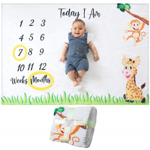 Odoxia Baby Monthly Milestone Blanket | for Boy or Girl, Unisex | Month Blanket Baby for Pictures | Jungle Safari, Giraffe and Monkey Theme | Personalized Shower Gifts New Moms | Track Age and Growth