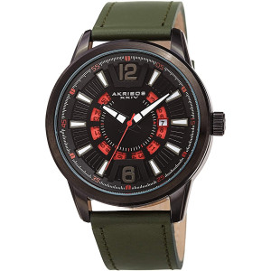 Akribos Sporty Transparent Date Wheel Men's Watch  Colored Semi Transparent Date Textured Linear Pattern - Leather Strap - AK1079