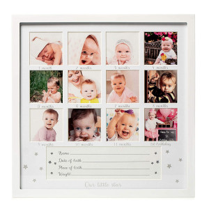 """1Dino My First Year Baby Keepsake Picture Frame - 13.2""""x 13.2"""" White Wood Baby Frame Hold 12 Months Photo Inserts - Newborn Baby Registry, Shower Gift for Boys and Girls, Wall or Desk Nursery Decor"""