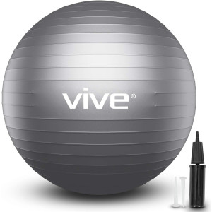 Vive Stability Ball - Yoga Fitness Ball for Balance Exercise Workout - Anti Burst Desk Chair for Home and Gym Fitness, Birthing, Pilates Core Fit Training, Physical Therapy - with Pump