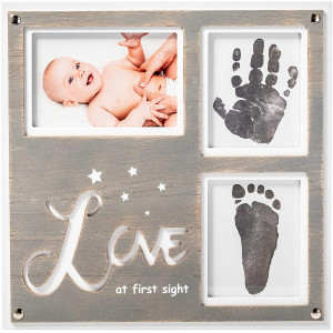 """1Dino Newborn Baby Handprint and Footprint Picture Frame Kit -Special Cut 12.6x 12.2"""" White/Gray Wood Frame, 2 x Clean-Touch Ink Pad Included, Safe For Baby- Baby's Prints, A Perfect Baby Shower Gift"""