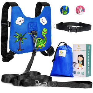 HappyVk Safety Harness for Kids-Anti Lost Walking Toddler Baby Leash-with Drawstring Storage Bag and Belt for Parents-Cute Dinosaur Embroidery-Suitable for 1-4 Years Old Boys, Girls