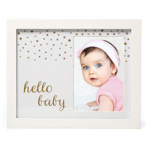 """1Dino Hello Baby Keepsake Picture Frame - Delux 9""""x 11"""" White Solid Wood Frame, Gold and Silver Special Paint -Perfect Shower Gift for Boys and Girls, A Forever Registry Memory, Wall/Desk Nursery Decor"""