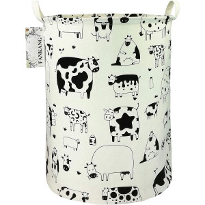 FANKANG Storage Bins Nursery Hamper Canvas Laundry Basket Foldable with Waterproof PE Coating Large Storage Baskets Gift for Kids, Office, Bedroom, Clothes, Toys Baby Shower Basket (Cows)