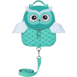 Toddler Girls Boys Cute Butterfly Owl Penguin Backpacks with Safety Leash Kid Child Anti-Lost Bags for 2-5 Years (Owl Light Green)