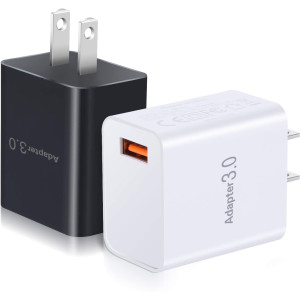 QC 3.0 Wall Charger, OKRAY 2 Pack 18W Fast Charging USB Power Adapter with Wall Plug Compatible 10W Wireless Charger, iPad Pro, Tablets, iPhone 11/XS/8, Samsung Galaxy S10/S9, LG, HTC (Black White)