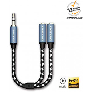 Headphone Splitter - Kinsound 1 x 3.5mm Male to 2 x 3.5mm Female - y Splitter Cable for iPhone, Android Device, Laptop,PCand More