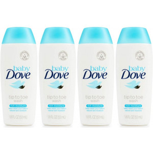 Baby Dove Tip to Toe Wash, Rich Moisture, Travel Size, 1.8 Ounce (Pack of 4)
