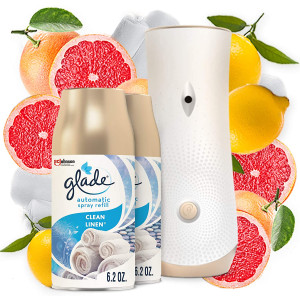 Glade Automatic Spray Refill and Holder Kit, Air Freshener for Home and Bathroom, Clean Linen, 6.2 Oz, 2 Count
