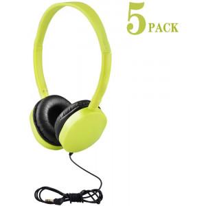 Kids Headphones Bulk 5 Pack for School Students Children Teen Boys Girls, Hongzan Wholesale Durable Headphones Classroom Earphones (Light Green)