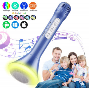 Magicfun Kids Microphone, Karaoke Microphone Bluetooth Wireless Portable Handheld Easter Christmas Birthday Home Party Gifts Toys for 4 5 6 7 8 9 4+ Year Old Kids Girls Boys Mic Speaker MachineBlue