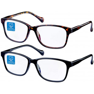 Blue Light Blocking Computer Glasses 2 Pack Anti Eye Eyestrain Unisex(Men/Women) Glasses with Spring Hinges UV Protection (Black and Twilight)