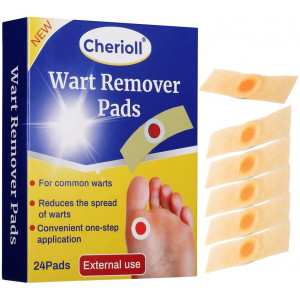 Wart Remover, Wart Removal Plasters Pad, Foot Corn Removal Plaster with Hole, Feet Callus Remove, Soften Skin Cutin Sticker Cure Toe Protector, Relief Pain Removal Warts Plaster 24 Pcs/Box