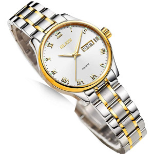 Business Women Watches Day Date,Woman Watches with Stainless Steel Belt,Fashion Luminous Ladies Watches with Black/White Dial,Roman Numeral Waterproof Watches,Luminous Analog Watch with Date