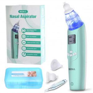 BEBUL Baby Nasal Aspirator Electric Nose Cleaner with 3 Suction Levels, LCD Screen, Flashlight and Music, Battery Operated Nose Suction Aspirator for Infant and Toddler (Light Green)