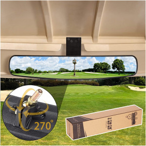 """10L0L Adjustable Rotatable Golf Cart Rear View Mirror, Universal Safe 270 Rotation 16.5"""" Extra Wide Rear View Convex Golf Cart Mirror for EZ Go, Club Car, Yamaha"""