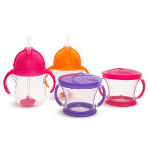 Munchkin Happy Snacker Snack Catcher and Sippy Cup Set, 4 Pack, Pink/Purple/Orange