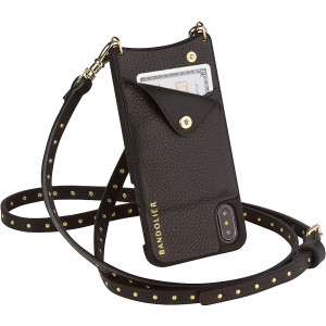 Bandolier Nicole Crossbody Phone Case and Wallet - Black Leather with Gold Detail - Compatible with iPhone Xs Max Only