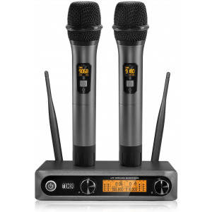 TONOR Wireless MicrophoneMetal Dual Professional UHF Cordless Dynamic Mic Handheld Microphone System for Home Karaoke, Meeting, Party, Church, DJ, Wedding, Home KTV Set, 200ft(TW-820)