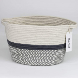 KP Organizer Gray Rectangle Cotton Rope Woven Storage Basket Baby Nursery Toy Organizer for Blankets Towels Pillows 38CM(L)31CM(W)25CM(H)