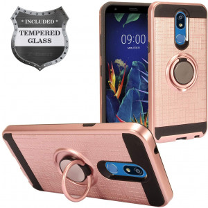 Z-GEN - LG K40 /X420 - Hybrid Phone Case w/Ring Stand + Tempered Glass Screen Protector - RS2 Rosegold