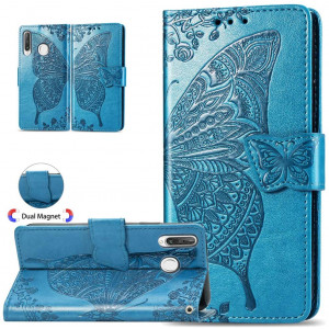 ISADENSER for Huawei P30 Lite Case Elegant Embossing Totem Butterfly Wing PU Leather Flip Wallet Bookstyle Magnetic Card Slot Stand Cover for Huawei P30 Lite, Butterfly Wing Blue XD