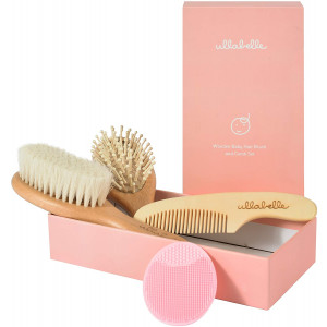 Ullabelle 4 Piece Wooden Baby Hair Brush and Comb Set for Newborns and Toddlers in Chic Gift Box - Ultra Soft Natural Goat Hair and Wood Baby Brush Set Prevents Cradle Cap - Perfect Registry Gift (Pink)
