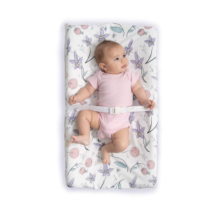 JumpOff Jo Waterproof Fitted Changing Pad Cover  Soft Plush Minky Fabric - Floral Fairy