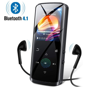 RUIZU Mp3 Player, Mp3 Player with Bluetooth, 8GB Portable HiFi Lossless Sound Music Player with Speaker, FM Radio, Voice Recorder, E-Book, Video Player, Pedometer, Support up to 128GB(Black)