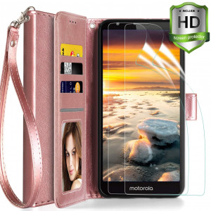 Axiay Moto E6 Phone Case with 2 Pack HD Screen Protector,Motorola E6 Wallet Case with Leather Wrist Strap Flip Case,Card Slots Dual Layers Protective Shock Absorption Phone Cover ,Rose Gold