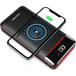 Wireless Portable Charger 25000mAh Power Bank with 3 Outputsand 2 Inputs Huge Capacity Backup Battery with LCD Display, Compatible with Smart Phones,Android Phone,Tablet and More