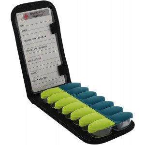 Lewis N. Clark Magnetic Folding Pill Organizer Supplement Case for OTC Medicine, Prescription Vitamins-14 Slots, Gray/Black