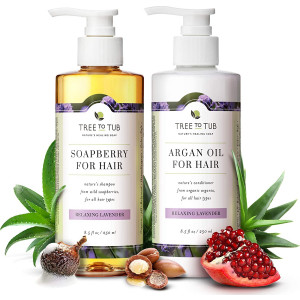 Gentle Argan Oil Shampoo and Conditioner by Tree to TubpH 5.5 Balanced Moisturizing Duo with Wild Soapberry and Organic Moroccan Oil - Nourishes Dry Hair and Very Sensitive Scalp, Sulfate Free (2 Pack)