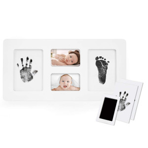 Norjews Baby Handprint and Footprint Photo Frame Kit for Newborn Boys and Girls, Babyprints Paper and Clean Touch Ink Pad to Create Baby's Prints, Amazing Baby Shower Gifts