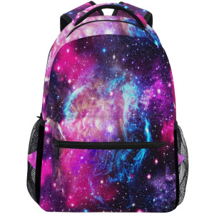 Universe Space Galaxy Star Travel Laptop Backpack Daypacks, Pink Blue Nebula Water Resistant College School Computer Bag Bookbag for Women and Men Outdoor CampingandFits Up to 14-inch Notebook