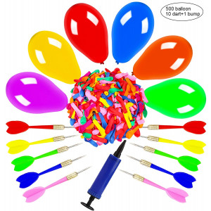 OOTSR Dart Balloon Game Set Includes 500 Balloons and 10 Darts Plus Pump - Exciting Outdoor Game for Children and Adults, Best Carnival, Birthday Party and Backyard Fun