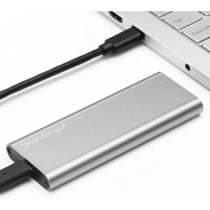 Wanfocyu USB Type C M.2 NVMe SSD Enclosure Adapter, USB 3.1 Gen 2 10Gbps Solid State Drive Aluminum External Casing, Unique Cooling Fin Design for Good Heat Dissipation