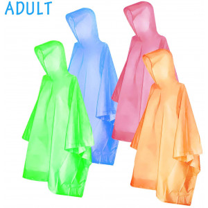 Ponchos for kids AdultsFishOaky Rain Ponchos Multi-colored Raincoat for Camping Hiking Traveling Backpacking, 4 Pack