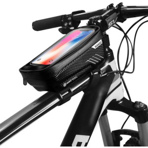 Wanfei Bike Phone Top Tube Bag Bicycle Cell Phone Mount Holder Bag Case with Touch Screen Waterproof Front Frame Storage Bag for Phone Below 6.5 Inch